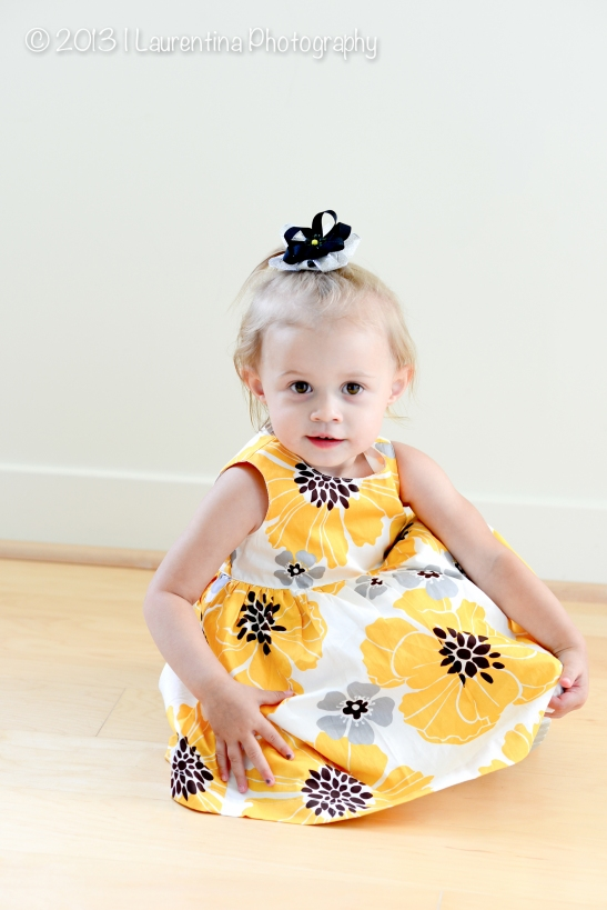 summer dress, two year old, girl, yellow, white, black, blonde hair, bows