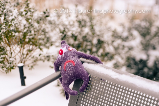 three, little, ugly doll, DIY, italian, monsters, reston town center, snowy day, polar vortex, january, snow, 2014, winter, lensbaby, lensbaby edge optic 85, purple
