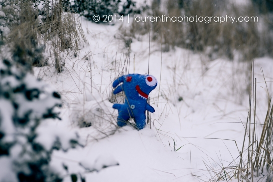 three, little, ugly doll, DIY, italian, monsters, reston town center, snowy day, polar vortex, january, snow, 2014, winter, lensbaby, lensbaby edge optic 85, blue